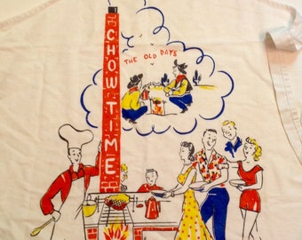 Vintage 50s era Chow Time BBQ apron grilling novelty chef apron