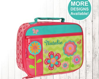 Personalized Flower Lunch box, Stephen Joseph Lunch Box, Embroidered Childrens Lunch Box, Monogrammed Flower Lunch box