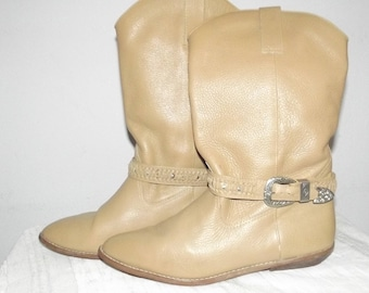 Women Girl  size 7  tan  leather  cowgirl  cowboy western boots