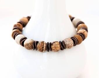 758_ Unisex bracelet, Gift stone bracelet, Brown unisex bracelet, Jasper bracelet, Beaded bracelet gift Unisex brown bracelet Boho bracelet