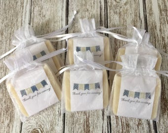 Navy Blue and Gold Bunting Banner Soap Favors