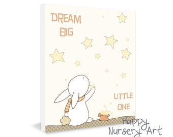 Dream Big Little One - Unisex Baby Wall Art - Poster for Baby Room - Off white Art Decor - Gift for New Baby - Toddler Room Artwork-Boy Girl