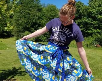 REVERSIBLE Starry Night Wrap Skirt