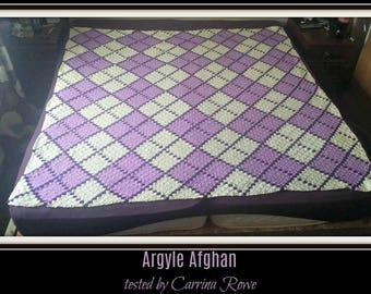 Argyle C2C Graph, Argyle 3 Color, Argyle Crochet Pattern, Argyle Corner to Corner