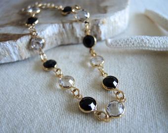 Swarovski Bracelet, Black & White Clear Color Swarovski Crystal Bracelet, 14K Gold Filled Bezel Bracelet, Swarovski Jewelry Gifts For Her