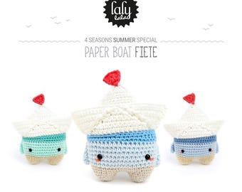 paper boat FIETE • lalylala crochet pattern / origami amigurumi • 4 seasons summer special