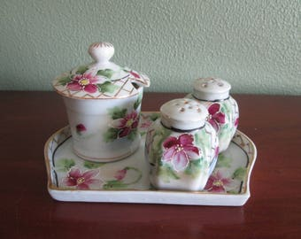 Vintage Porcelain Salt Pepper Shakers Covered Sugar with Tray Made in Japan