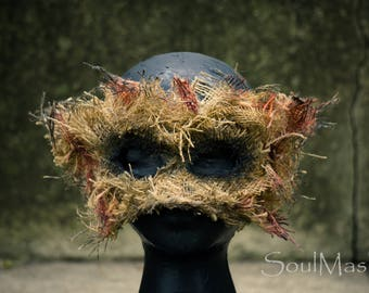Husk Mask, Scarecrow Mask, Burlap Mask, Halloween Mask, Scary Mask, Creepy Mask, Mens Mask, Scarecrow Costume, Horror Costume, Halloween