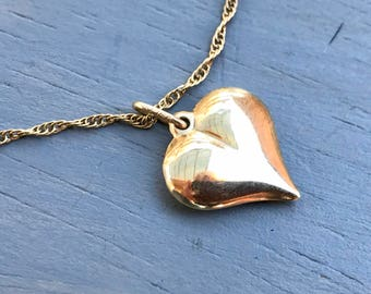 Vintage Gold Puffy Heart Necklace 14K Yellow Gold Pendant Valentines Fine Jewelry Gift for Her