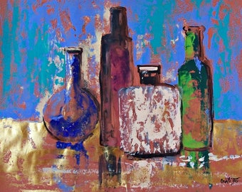 "Original painting Still Life with tequila bottles impressionistic art original painting acrylic on paper blue green black orange 19.5""x25.5"""