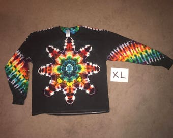 Tie Dye T-Shirt ~ Fire Mandala With Black Background ~ i_7593 in Long Sleeve Adult XL