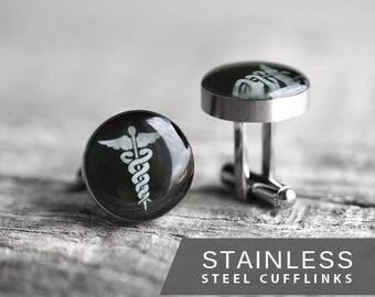 Doctor Cufflinks, Stainless steel cufflinks, Medical cufflinks, Caduceus cufflinks Science Cuff Link mens cufflinks Wedding cufflinks