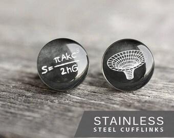 Black Hole Cufflink, Stainless steel cufflink Mathematical cufflink, Science cufflink Wedding cufflinks for groom, groomsmen science gift