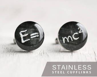 Theory of Relativity Cufflink, Stainless steel cufflink Science cufflink Phisics cufflink Wedding cufflinks for groom groomsmen science gift