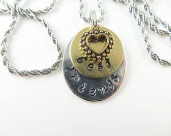 Mini hand stamped - best friends - necklace