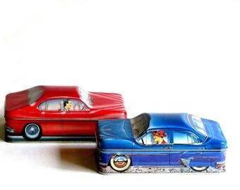 Carlectables British Automobile Tins Red Jaguar Blue De Soto Ian Logan Made in England Gift for Him Man Cave Decor Car Enthusiast Present