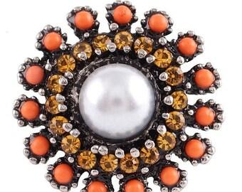 1 PC - 18MM Orange Yellow Rhinestone Silver Charm for Candy Snap Jewelry KC7112 Cc2373