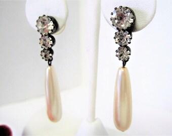 Faux Pearl Earrings - 3 Rhinestones -  Lobe Dangles - Wedding Drop Pierced Earrings