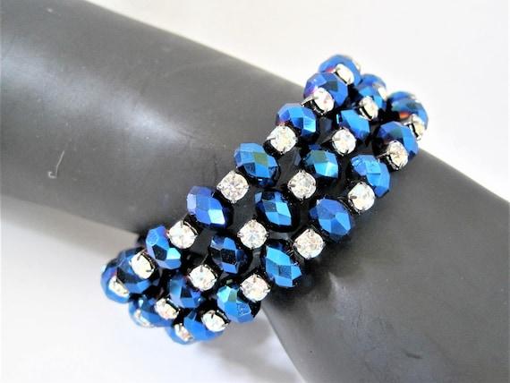 Blue Rhinestone Bracelet - Bead Memory Wire - Vintage Wrap Bracelet