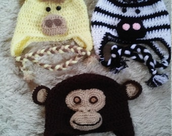 Toddler  Hat, Crocheted Baby Hat, Crocheted Giraffe Hat, Crocheted Monkey Hat, Crocheted Puppy Hat, Halloween Hat