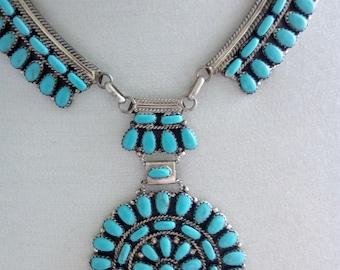 Turquoise Navajo squash blossom Necklace