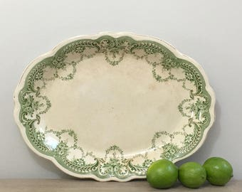 1920s English Porcelain Serving Platter Tray Dudson Wilcox Till Hanley England Farmhouse Rustic Chic