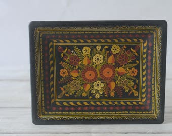Decorative Hand Painted In Mexico Wood Folk Art Tray