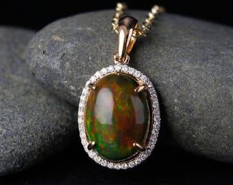 ON SALE Australian Black Opal Necklace – Diamond Halo – 18KT Yellow Gold