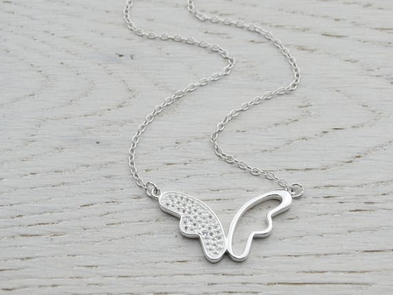 Silver Butterfly & White Topaz Necklace, Sterling Silver