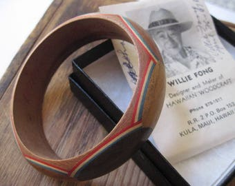 Vintage Willie Fong Handcrafted Mixed Wood Bangle Bracelet Made in Hawaii 1978