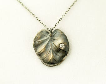 Sterling Lily Pad Necklace -  Leaf Pendant with White CZ