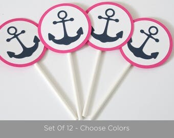 Set of 12, Nautical Baby Shower Cupcake Toppers, Anchor Toppers, Baby Shower Decoration