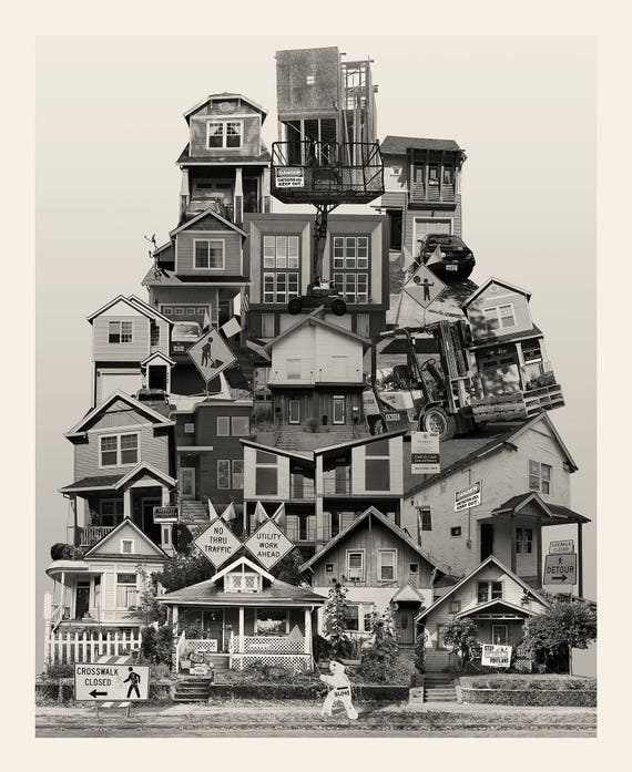 "New ""Affordable Housing"" --  Fine Art Photography -- Photomontage -- Original Artwork -- Photo Collage"
