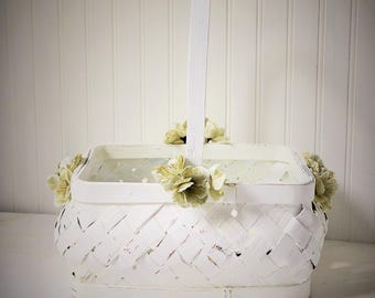 Wedding Basket White Pale Green Flowers