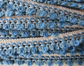 German Vintage Blue & Beige Rustic Fabric Border Trim, Ornamental Trimmings for Lampshades Curtains, Sewing Crafting Supply
