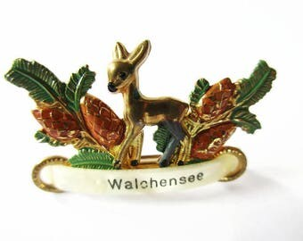 German Vintage Bavarian Metal Brooch Jewelry, Hat pin Souvenir Pin from the Walchensee/Kochel Bavaria with little Fawn
