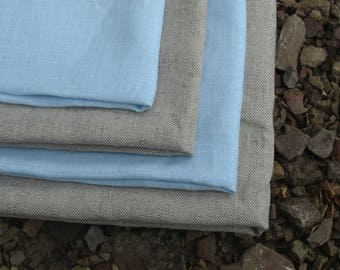 Linen Kitchen Towels Set of 4 Organic Linen Natural Grey and Pale Blue