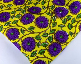 Yellow and Purple Floral Print Rayon Fabric-Hand Block Printed Rayon Dress Fabric-Rayon Fabric For Dress-Fabric by Yard