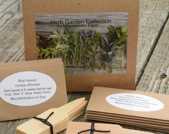 Herb Garden Seed Collection, Heirloom Herbs, Gift Box 14 Varieties of Heirloom Seeds Great for Kitchen Gardens and Container Gardening