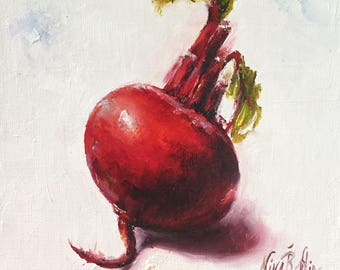 Beet Sweet Red Original Oil Painting Still Life Nina R.Aide Small Painting Kitchen Art Vegetable Canvas 6x6 Sale