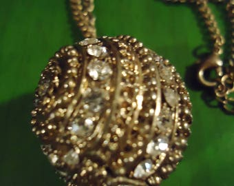 Vintage 1970s Gold and Rhinestone Disco Ball Shaped Pendant Necklace