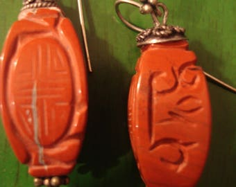 Handcrafted Boho Chic Southwestern Coral Earrings