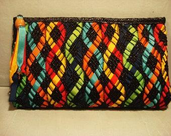 Vintage 1980 Boho Ribbon Wicker Handbag Clutch