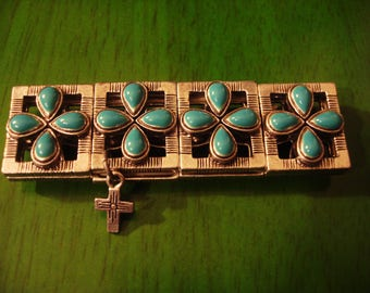 Vintage 1990s Turquoise Stretch Bracelet With Small Cross Pendant