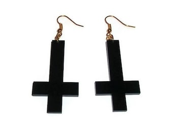 Inverted Cross Earrings, Black Acrylic Dangle Earrings, Laser Cut Jewelry