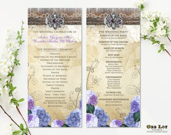 Rustic Wedding Program Template Purple Hydrangea Country Wedding Rustic Chic Wedding Outdoor Rustic Wedding Outdoor Fall lavender Floral