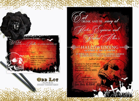 halloween wedding invitation gothic wedding invite skull wedding