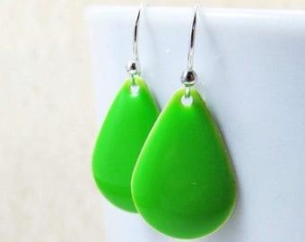 40% OFF Dangle Drop Earrings - Lime Green Epoxy Enamel Teardrops - Sterling Silver Plated over Brass (F-5)