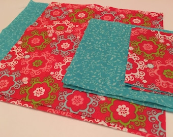 Red and Teal Floral Quilting Embroidery Fabric