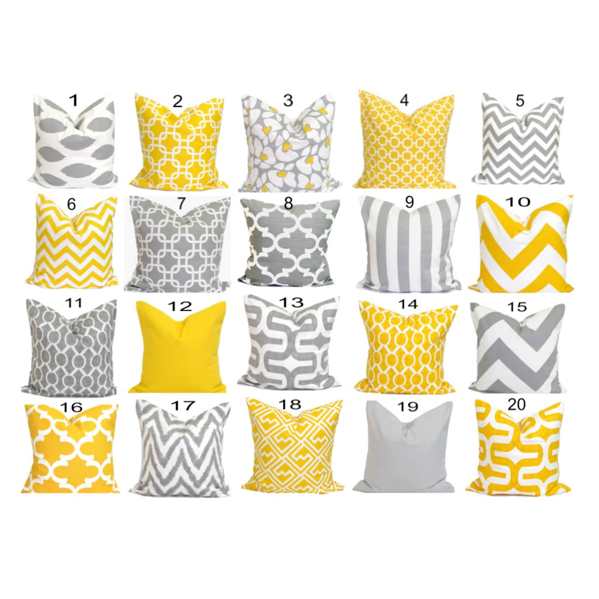 SALE Gray Yellow Pillows 14x14 inch Decorative Pillow